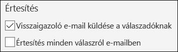 E-mail-értesítés küldése a válaszadóknak a Microsoft űrlapokban