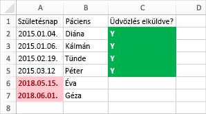 Feltételes formázás példája születési dátumok, nevek és elküldve oszloppal