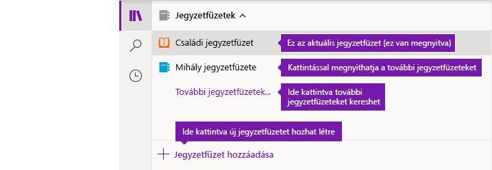 A jegyzetfüzetek listája a Windows 10 OneNote-ban