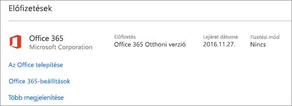 Ha az Office 365 próbaverzióját az új PC-jén előtelepítve kapta, az a megjelenített dátumon fog lejárni