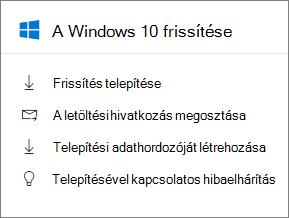 A Windows 10 frissítése a kártyát a felügyeleti központban.