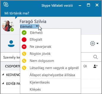Képernyőkép a Skype Vállalati verzió ablakáról, amelyben az Állapot menü van megnyitva.