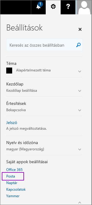 Képernyőkép a Beállítások ablaktábláról, amelyben a Saját appok beállításai csoportban a Levelek elem van kiemelve
