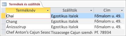 Termékek és a szállítók adatait a képernyő kódtöredékének