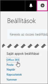 Az Office 365-beállítások lehetőség választása