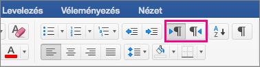 Megjeleníti a Jobbról balra és a Balról jobbra szöveggombokat a Mac Word 2016-ban.