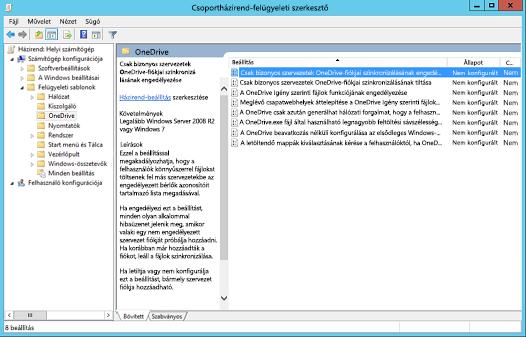 A számítógép-konfigurációs házirendek a Csoportházirendkezelés-szerkesztőben