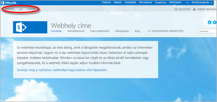 Az Office 365-beli nyilvános webhely alapértelmezett lapelrendezése