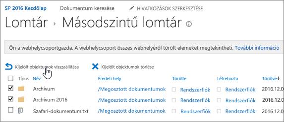SharePoint – másodfokú újrahasznosítás kijelölt visszaállítás gombbal