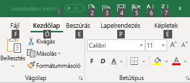 Excel Menüszalag Billentyűtippek
