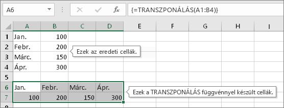 Eredeti cellák fent, TRANSZPONÁLÁS függvényt használó cellák lent