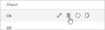 Képernyőkép a Mobileszközök lapon található Törlés gombról.