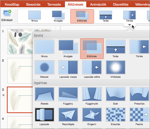 Select the slide you want to add a transition to in the Thumbnail pane