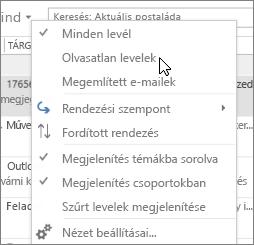 A képernyőképen a olvasatlan beállítást, a Beérkezett üzenetek mappa menüszalagon minden legördülő menüből.