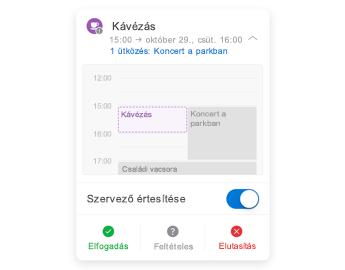 Értekezlet-összehívás, melynek tetején egy mininaptár, középen egy megjegyzések szakasz, alul pedig a válasz gomb látható