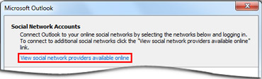 Az Outlook Közösségi Összekötő szolgáltatójának weblapját megnyitó hivatkozás