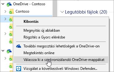 Képernyőkép a Fájlkezelő helyi menüjéről, amelyben a Válassza ki a szinkronizálandó OneDrive-mappákat elem van kijelölve
