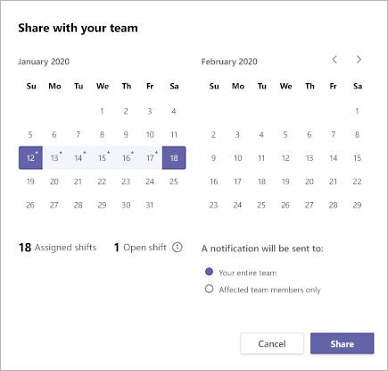 Csapat ütemtervének megosztása a Microsoft Teams-műszakokban