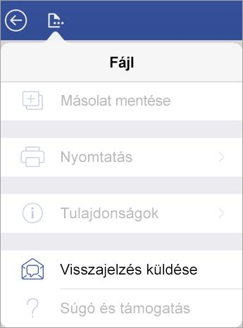 Képernyőkép az iPad Visio Visszajelzés küldése hivatkozásáról