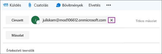 Képernyőkép egy e-mail Címzett soráról, a címzett e-mail-címének törlésére szolgáló beállítással