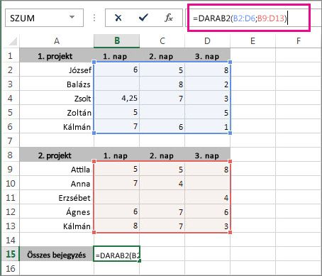 2 cellatartomány nem üres celláinak megszámlálása a DARAB2 függvénnyel