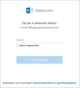 Az outlook.com-fiók jelszavának megadása