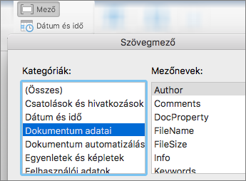 Képernyőkép a dokumentumra vonatkozó adatokat kategória szerint szűrt mezőkódok megjelenítő
