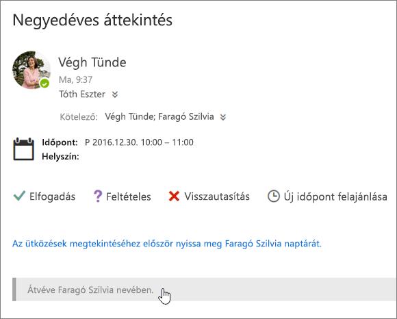 Képernyőkép egy megosztott naptárba küldött értekezletmeghívóról.