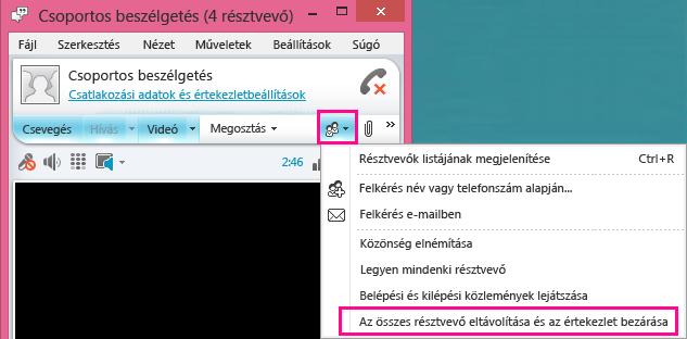 Képernyőkép: az értekezletet bezáró gomb
