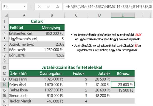 Példa értékesítési bónusz kiszámítására a HA, az ÉS és a NEM képlet alapján.  Az E14 cellában lévő képlet a következő: =HA(ÉS(NEM(B14<$B$7);NEM(C14<$B$5));B14*$B$8;0)