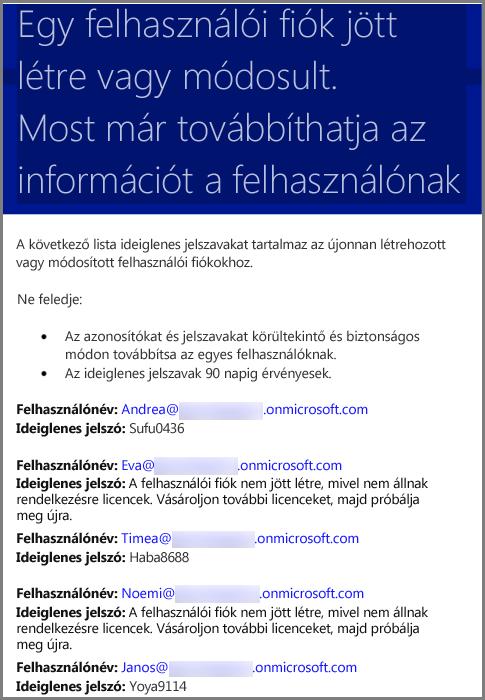 Minta e-mail felhasználói hitelesítő adatokkal