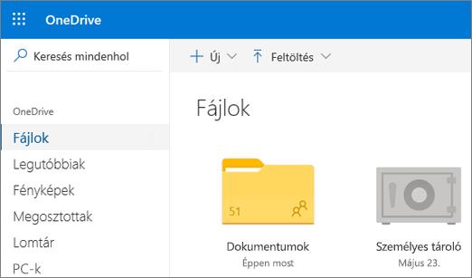 Képernyőkép a OneDrive webes felületén a Fájlok nézetben látható Személyes tárról