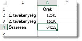 A 24 óra feletti időösszeg eredménye a váratlan 4:15 érték