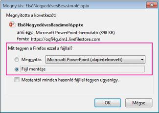 Mit tegyen a Firefox ezzel a fájllal?