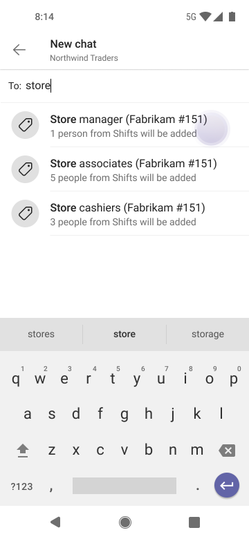 Felhasználók elérése címkékkel a Teamsben Android-eszközön