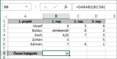 A DARAB2 függvény