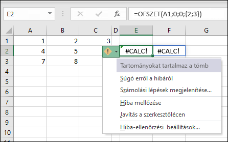 #CALC! a hiba-tömb tartományokat tartalmaz