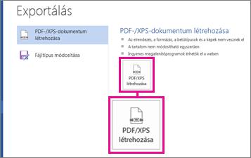 A PDF/XPS létrehozása gomb a Word 2016 Exportálás lapján