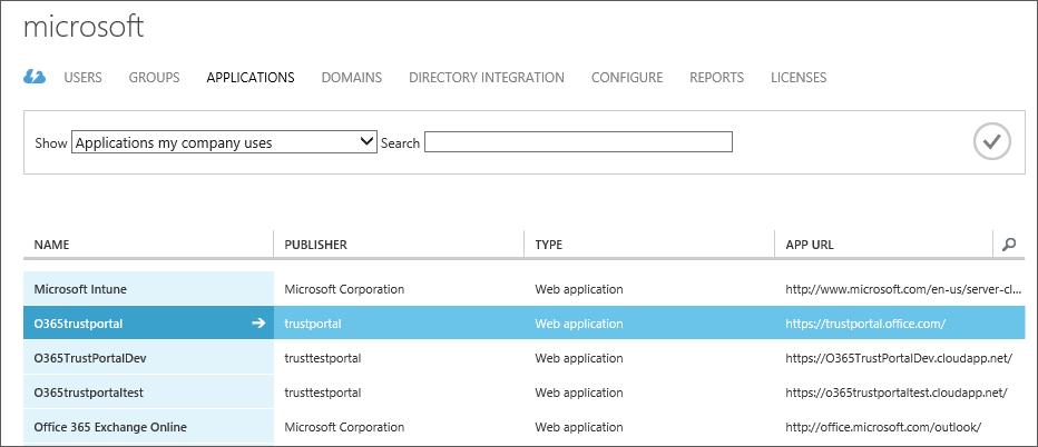 Az Azure AD-alkalmazások listája kijelölt szolgáltatásmegbízhatósági alkalmazással (O365trustportal).
