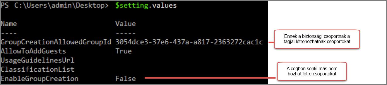 Csoportbeállítások objektum módosított értékkel