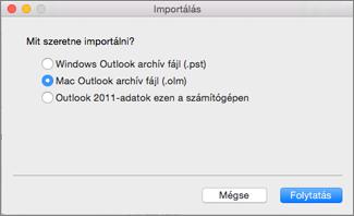 Archív fájl importálása .olm-fájlként