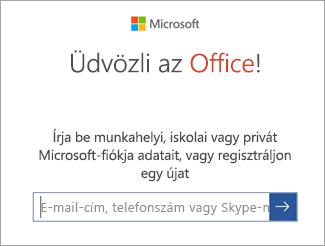 Adja meg a Microsoft-fiók vagy az Office 365-fiók e-mail-címét