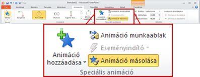 Az Animációk lap a PowerPoint 2010 menüszalagján