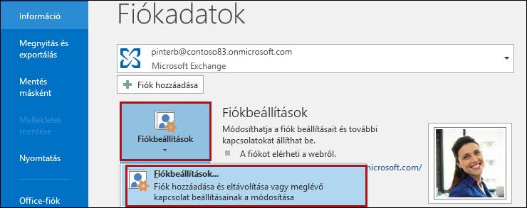 Fiókbeállítások az Outlookban