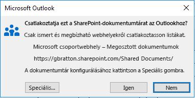 Csatlakozás SharePoint-dokumentumtárhoz