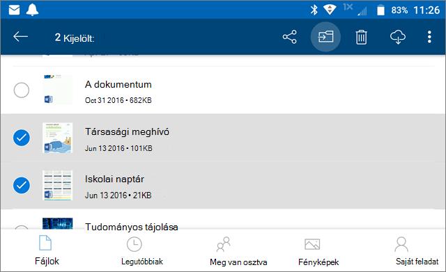 Fájlok áthelyezése a OneDrive-ba