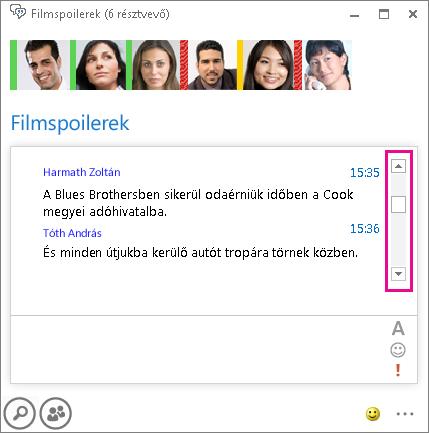 A csevegőszoba képernyőképe az előzmények áttekintésére szolgáló jobb oldali csúszka kiemelésével
