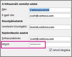 POP3- vagy IMAP-fiók jelszavának megváltoztatása