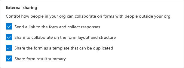 A Microsoft Forms felügyeleti beállítása külső megosztáshoz