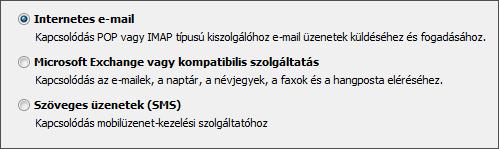 Outlook 2010 – szolgáltatás kiválasztása új fiókhoz